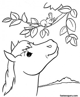 Printable coloring pages Animal Pony at tree