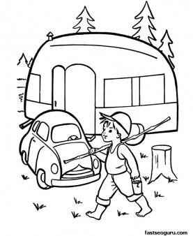 Printable coloring pages caravan car