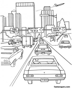 Printable coloring pages cars on highway