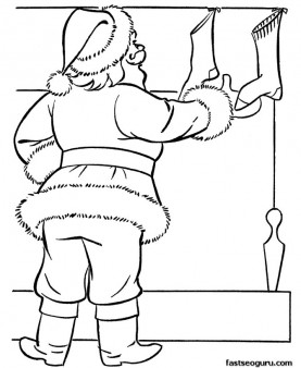 Print out coloring pages Santa filling Christmas stockings with gifts