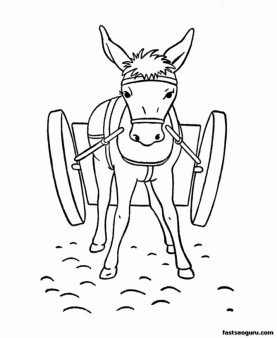 Printable coloring pages for kids Animal Donkey