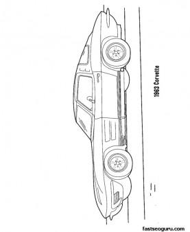 Printable Corvette 1963 coloring page for kids racecar