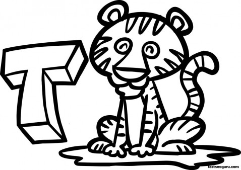 Printable Tiger Coloring Pages Animal for Kids
