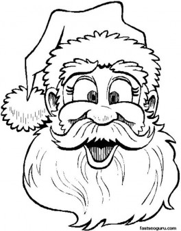 Printable coloring sheet Santa Claus says Merry Christmas to children