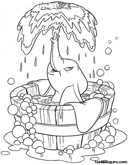 Coloring sheet of Disney Characters Dumbo taking bath