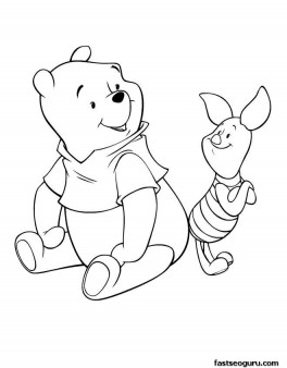 Coloring pages Disney Characters Winnie the Pooh and Piglet