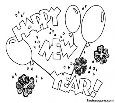 Printabel New Years Balloons coloring page