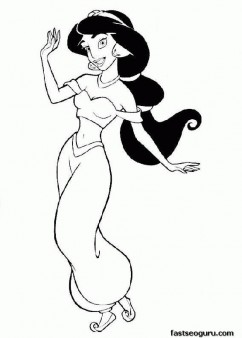 Coloring pages of Aladdin princess to print out