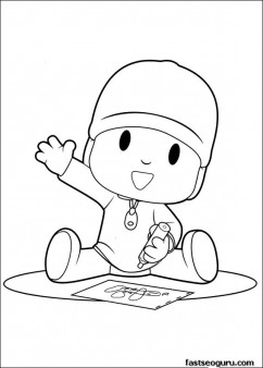 Printabel coloring pages for kids Pocoyo drawings