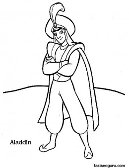 Print out Disney Characters Aladdin coloring page