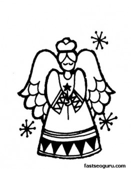 Print out coloring sheet of Christmas Angel for kids