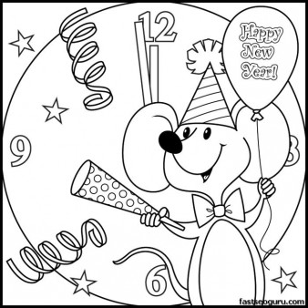 Printabel coloring pages new year mouse