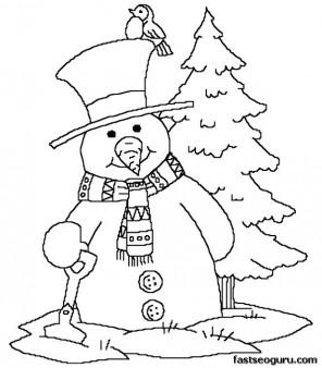 Printabel coloring sheet snowman near Christmas tree