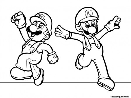Printabel cartoon Super Mario coloring pages for kids