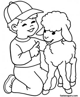 printable Farm lamb and boy coloring page