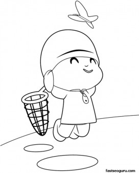 Print out coloring pages Pocoyo and a butterfly