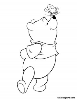 Print out coloring sheet Winnie the Pooh and butterfly