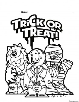 Halloween Trick or Treat Printable coloring pages