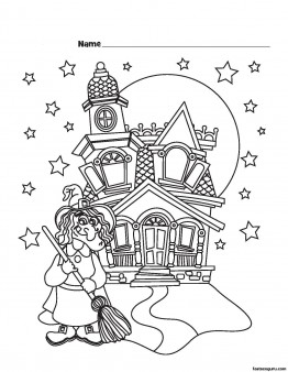 Halloween Witch Castle Printable coloring pages