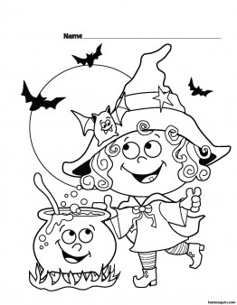 Halloween Witch Printable coloring pages for kids