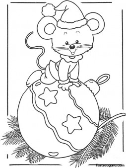 Printable coloring pages of Christmas mouse