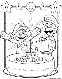 Printable Coloring pages Mario and Luigi happy birthday