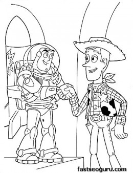 Printable coloring pages Toy story 3 Characters Woody and Buzz