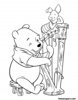 Printable coloring pages Winnie the Pooh and Piglet play guitar