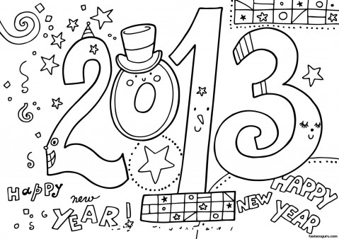 New Year 2013 Printable coloring  Pages