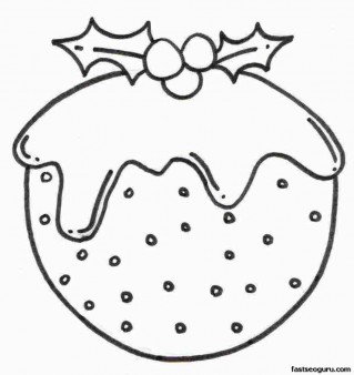 Printable Coloring pages Christmas Pudding