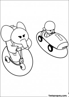 Printable coloring pages Pocoyo and Elly have race