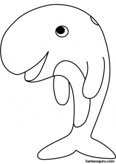 Printable sea happy face whale coloring page