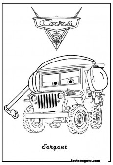 Printable Sarge coloring page car 2 for boy