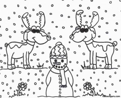 Printable coloring sheet of Christmas Reindeer And Snowman