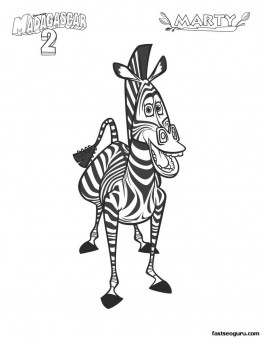 Print out Madagascar 2  Marty the zebra coloring page