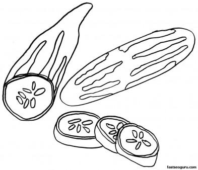 Free online Printable Vegetable Cucumber Coloring Page