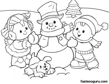 Printabel coloring sheet of Christmas Kids And Snowman ...