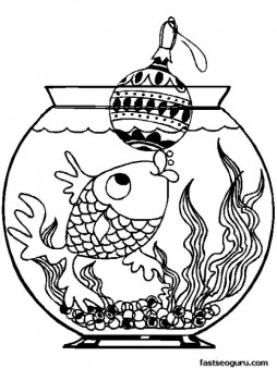 Printable Fish with Christmas decorations coloring pages