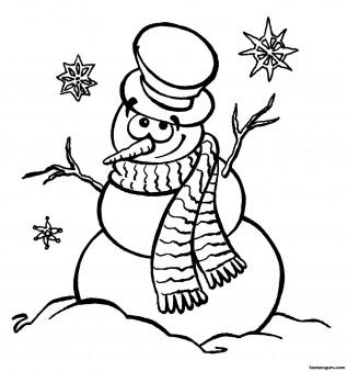 Printable coloring sheet snowman near Christmas