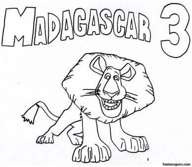 Printable Alex Madagascar 3 Coloring Pages
