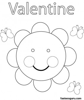 Print out Valentine Sun Coloring Pages