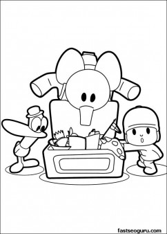 printable Coloring sheet Pocoyo Pato Elly play with toys