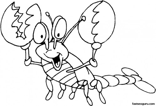 Printable happy Lobster coloring page