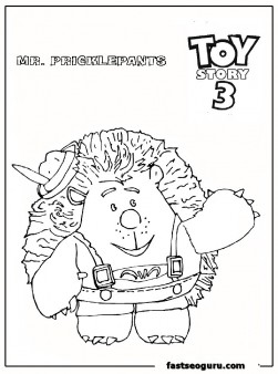 Mr Pricklepants Toy Story 3 coloring pages for print out
