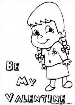 Printable girl Be My Valentine coloring page