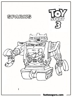 Sparks. Vulcan robot toy story 3 print out coloring pages