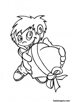 Valentines day Boy withheart present coloring page