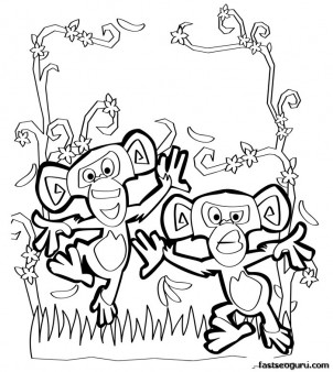 Printable Monkeys of Madagascar Mason and phil coloring pages