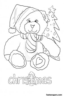Printable Christmas Bear Pictures to Coloring in pages for kids