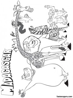 Printable Disney madagascar Main characters coloring pages